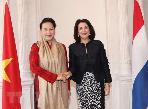 Chủ tịch Hạ viện Hà Lan Khadija Arib đón Chủ tịch Quốc hội Nguyễn Thị Kim Ngân. (Ảnh: Trọng Đức/TTXVN)