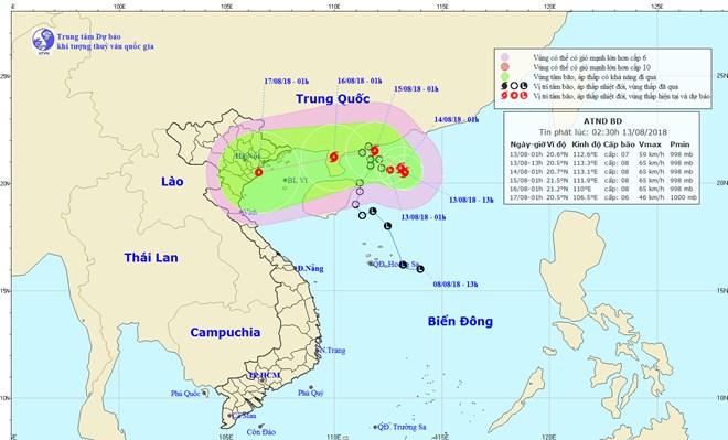 Vị trí và đường đi của bão. (Nguồn: nchmf.gov.vn)
