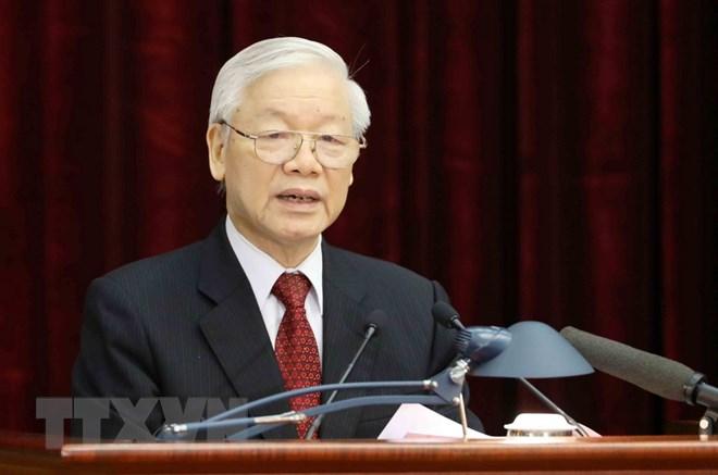 Tổng Bí thư Nguyễn Phú Trọng phát biểu khai mạc hội nghị. (Ảnh: Trí Dũng/TTXVN)
