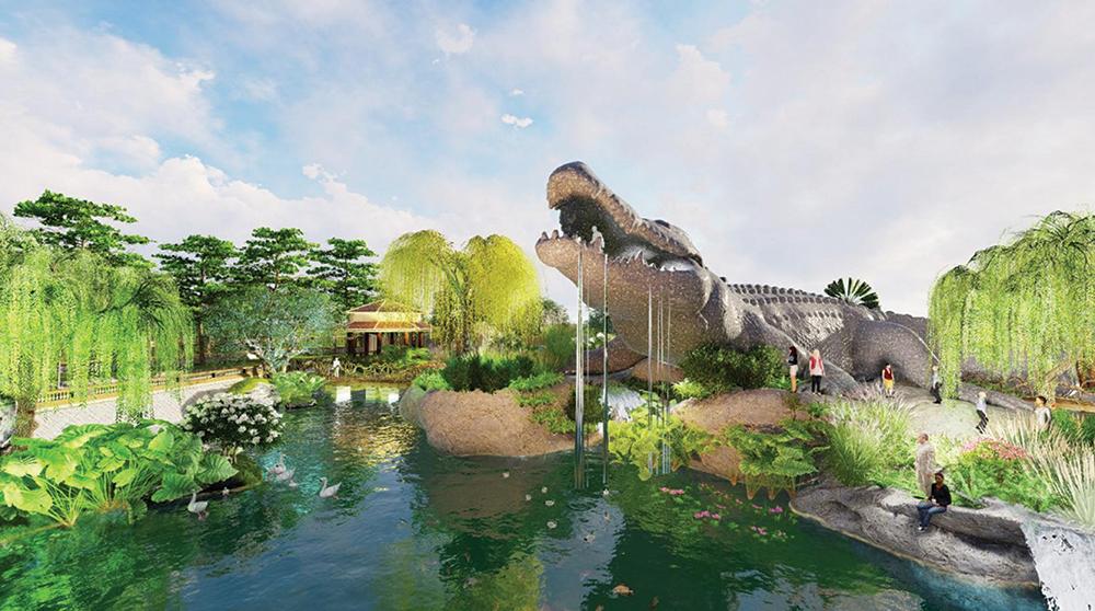 Phối cảnh hồ cá sấu Năm Chèo đình Thới Sơn