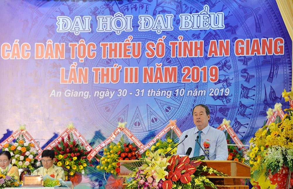 Phó Bí thư Tỉnh ủy, Chủ tịch UBND tỉnh Nguyễn Thanh Bình phát biểu khai mạc đại hội