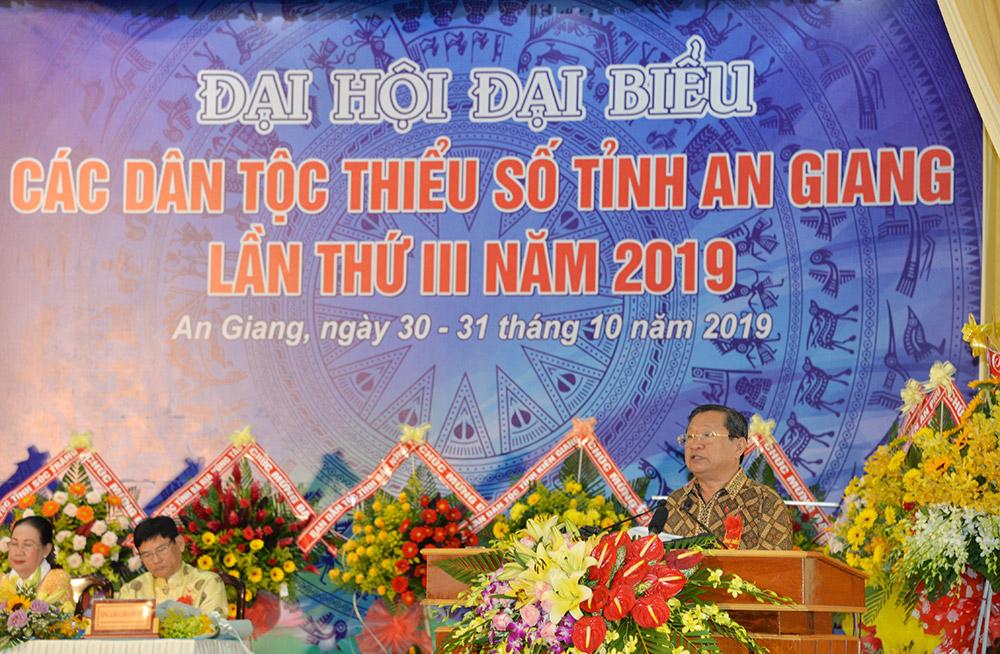 Trưởng ban Dân tộc tỉnh Men Pholly thông qua Quyết tâm thư của đại hội
