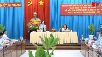 Trưởng ban Dân vận Trung ương Trương Thị Mai làm việc tại An Giang về công tác chuẩn bị Đại hội Đảng các cấp