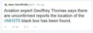 Đã tìm thấy hộp đen máy bay mất tích MH370?