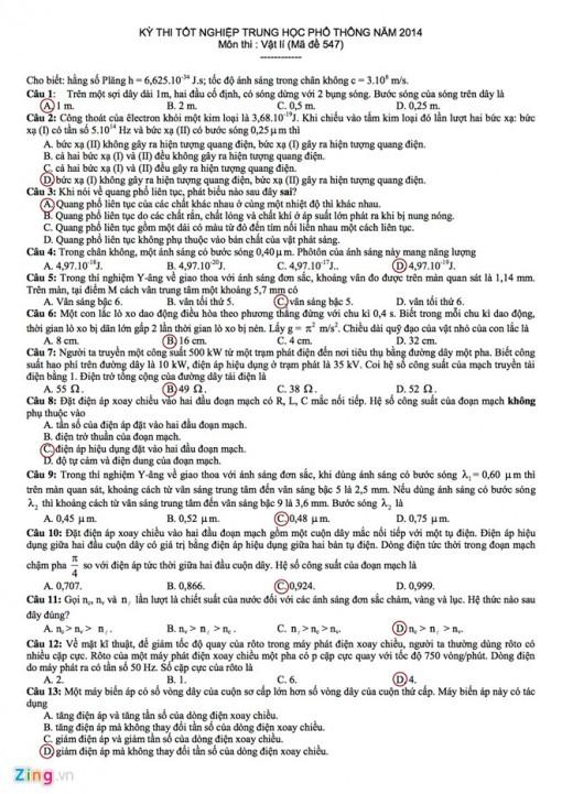 Đề thi và gợi ý đáp án môn Vật lý tốt nghiệp