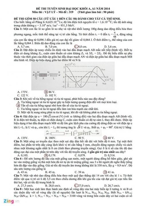 Đề thi và gợi ý đáp án môn Vật lý đại học
