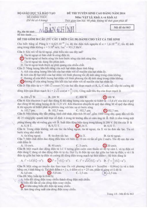 Hướng dẫn giải đề thi Cao đẳng môn Vật lý năm 2014