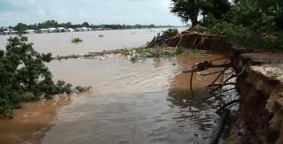 Sạt lở bờ sông Hậu ở Tân Châu đoạn dài 40m, 9 hộ dân phải di dời
