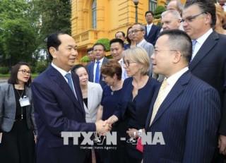 Chủ tịch nước Trần Đại Quang gặp mặt các nhà khoa học dự Hội thảo 'Khoa học để phát triển'