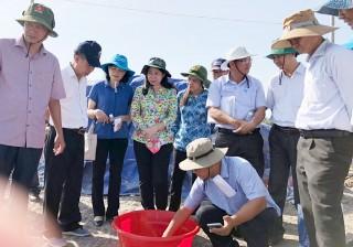 Bí thư Tỉnh ủy Võ Thị Ánh Xuân khảo sát tiến độ thực hiện dự án nuôi trồng thủy sản công nghệ cao Bình Phú