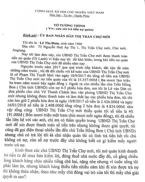Làm rõ số nợ của UBND thị trấn Chợ Mới