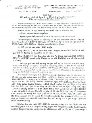 Kết quả giải quyết khiếu nại, tố cáo của bà Trần Thị Hồng Châu