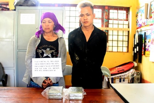 Hai mẹ con vận chuyển 4 bánh heroin