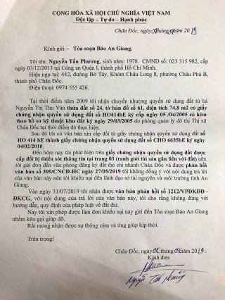 Trả lời phản ánh của ông Nguyễn Tấn Phương