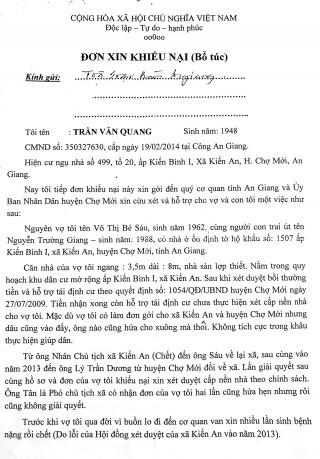Sẽ đối thoại, giải quyết vụ việc của ông Trần Văn Quang