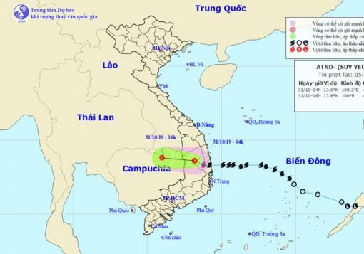 Thời tiết ngày 31-10: Bão số 5 vào đất liền và suy yếu thành áp thấp nhiệt đới