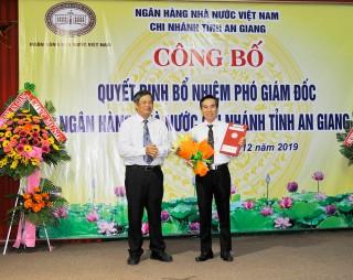 Ông Võ Hồng Nho được bổ nhiệm giữ chức Phó Giám đốc Ngân hàng Nhà nước Chi nhánh An Giang