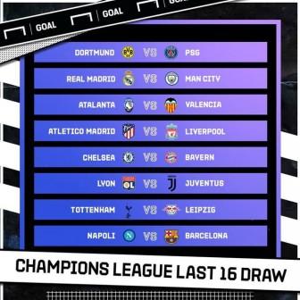 Real Madrid gặp Man City, Chelsea đụng Bayern ở vòng loại trực tiếp Champions League