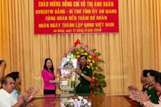 Bí thư Tỉnh ủy Võ Thị Ánh Xuân thăm Sư đoàn 330 nhân kỷ niệm 75 năm Ngày thành lập Quân đội nhân dân Việt Nam