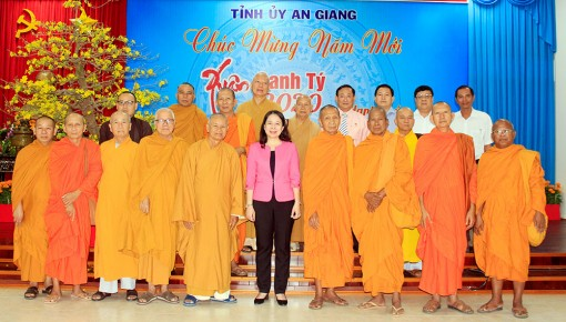 Ban Trị sự Phật giáo tỉnh An Giang và Ban đại diện cộng đồng Hồi giáo tỉnh chúc Tết Tỉnh ủy