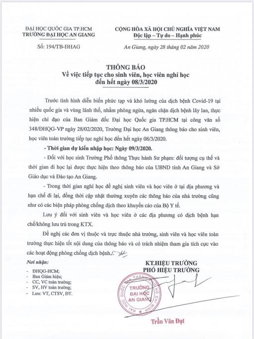 Sinh viên Trường Đại học An Giang tiếp tục được nghỉ học đến hết ngày 8-3