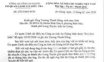 Đang tiếp tục xử lý các tố cáo của ông Trương Thanh Hồng