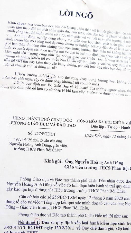 Trả lời tố cáo liên quan đến Trường THCS Phan Bội Châu