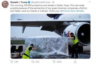 Tổng thống Trump đăng lời cảm ơn Việt Nam hợp tác với Mỹ chống dịch COVID-19