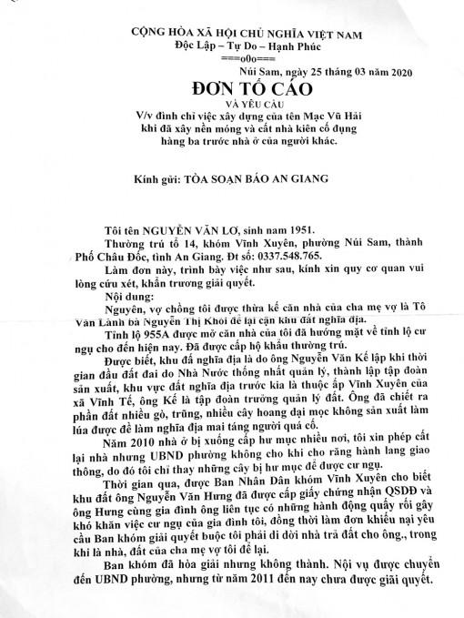 Trả lời phản ánh của ông Nguyễn Văn Lơ