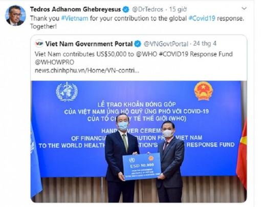 Tổng Giám đốc WHO cảm ơn Việt Nam đóng góp 50.000 USD chống COVID-19