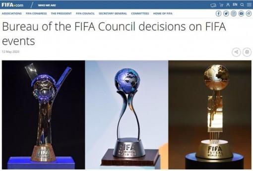 FIFA hoãn 3 giải World Cup đến năm 2021