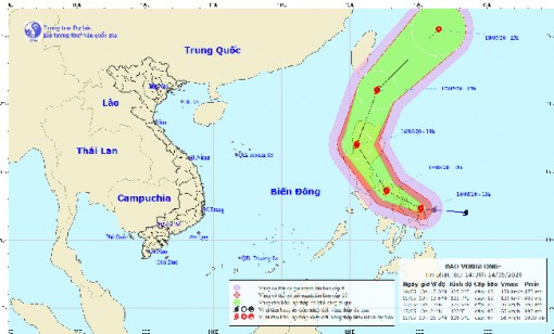 Bão Vongfong đang di chuyển theo hướng Tây Tây Bắc với sức gió mạnh nhất cấp 12