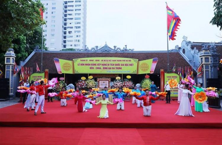 Hà Nội đón nhận Bằng xếp hạng Di tích Quốc gia đặc biệt đền-chùa-đình Hai Bà Trưng