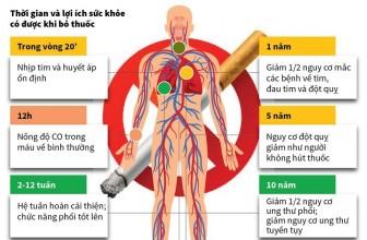 Cai thuốc lá mang lại nhiều lợi ích cho sức khỏe