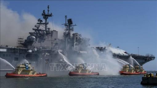Ít nhất 59 người bị thương trong vụ cháy tàu chiến Mỹ
