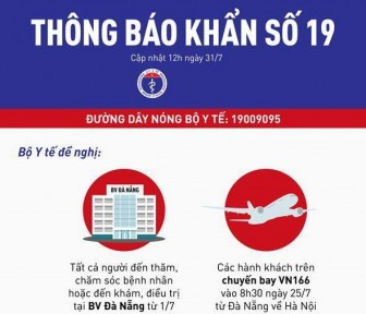 Thông báo khẩn người liên quan BV Đà Nẵng và chuyến bay VN166