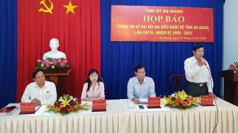 Đại hội đại biểu Đảng bộ tỉnh An Giang lần thứ XI (nhiệm kỳ 2020-2025) diễn ra từ ngày 23 đến 25-9-2020