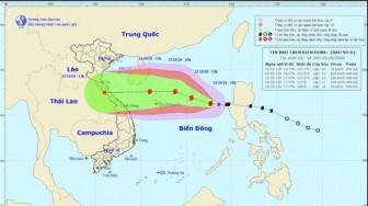 Bão giật cấp 11 cách đảo Hoàng Sa 560km