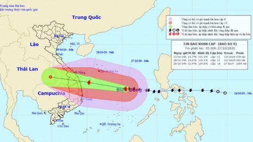 Bão số 9 giật cấp 17 hướng vào vùng biển từ Đà Nẵng đến Phú Yên