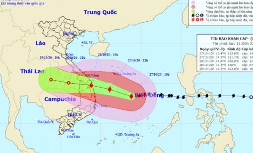 Sáng 28-10, bão giật cấp 15 vào Đà Nẵng đến Phú Yên
