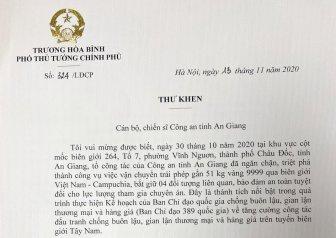 Phó Thủ tướng Trương Hòa Bình gửi thư khen Công an An Giang về vụ bắt 51kg vàng 9999 vận chuyển trái phép qua biên giới