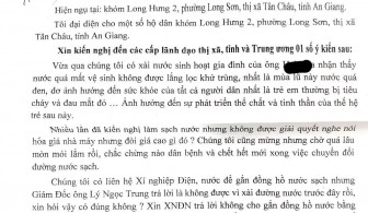 Trả lời về phản ảnh nước sinh hoạt ở phường Long Sơn