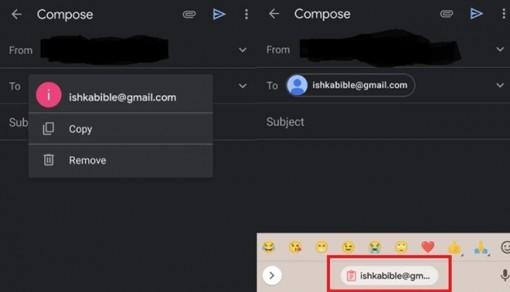 Gmail trên Android cải tiến sao chép và dán địa chỉ email