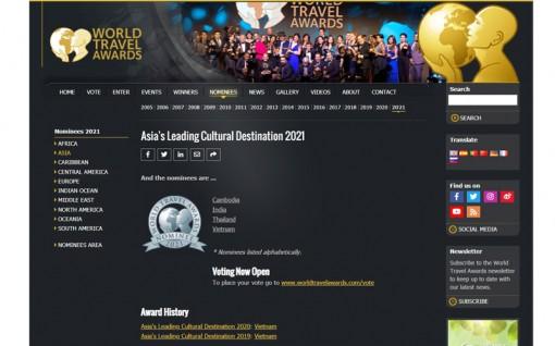 Bình chọn cho Du lịch Việt Nam tại Giải thưởng Du lịch Thế giới