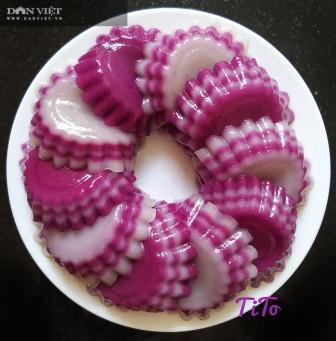 Khéo tay làm bánh da lợn lá cẩm cốt dừa đẹp lạ mắt, thơm ngon