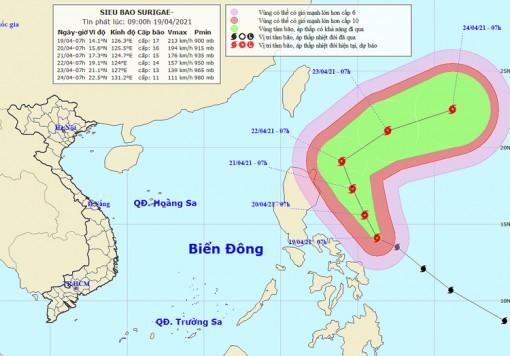 Do ảnh hưởng của siêu bão Surigae, Bắc Biển Đông biển động mạnh, sóng biển cao 4m
