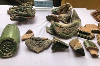 Phát hiện mộ táng, mô hình hình kiến trúc tráng men xanh - vàng quý hiếm thời Lê sơ