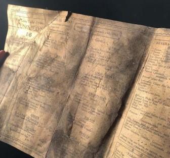 Phát hiện tờ thực đơn hơn 100 tuổi trong quán cà phê