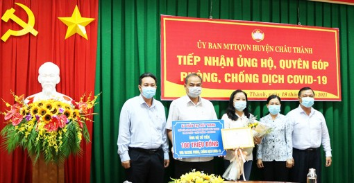 Châu Thành tiếp nhận 100 triệu đồng ủng hộ quỹ Phòng, chống dịch bệnh COVID-19