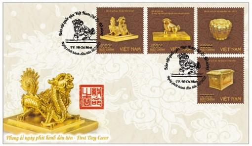 Phát hành bộ tem bảo vật quý về Phật giáo và ấn vàng thời Trần, Nguyễn